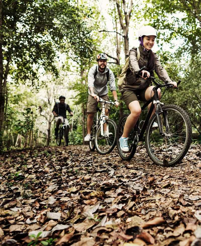 Flera personer cyklar mountainbike i skogen på Bokenäset Hotell & Konferens